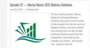 Litigation Finance Journal podcast with Marius Nasta